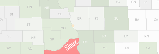 Sioux County Map
